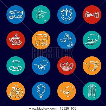 National symbols of England drawn line icons. Architecture, transport, tradition, clothing, weather, accessories vector illustrations associated with Great Britain. England vector symbols. Travel to England concept. Discover London.