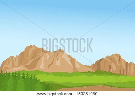 Horizontal wallpaper with realistic summer mountains and florest. Vector illustration