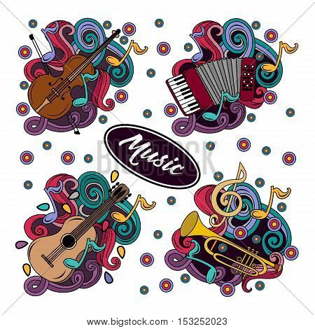 Set Of Cartoon Hand-drawn Doodles Musical Instruments Illustration.