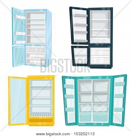 Home and commercial refrigerators vector illustrations isolated on white background. Different types of freezers with opened doors and empty shelves set. Technique to save freshness of products
