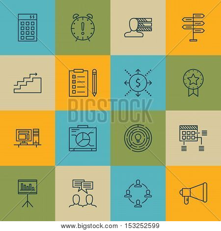 Set Of Project Management Icons On Computer, Time Management And Present Badge Topics. Editable Vect