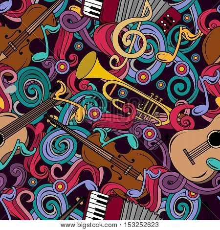 Seamless Pattern With Cartoon Hand-drawn Doodles Musical Instruments Illustration.
