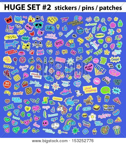 Huge pop art set with fashion patch, badges, stickers, pins, patches, quirky, handwritten notes collection. 80s-90s style. Trend. Vector illustration isolated. Vector clip art