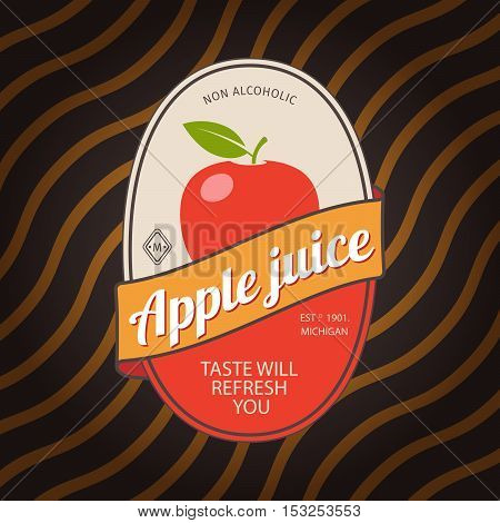 Apple juice retro fruit label and simple pattern backdrop. Vector illustration
