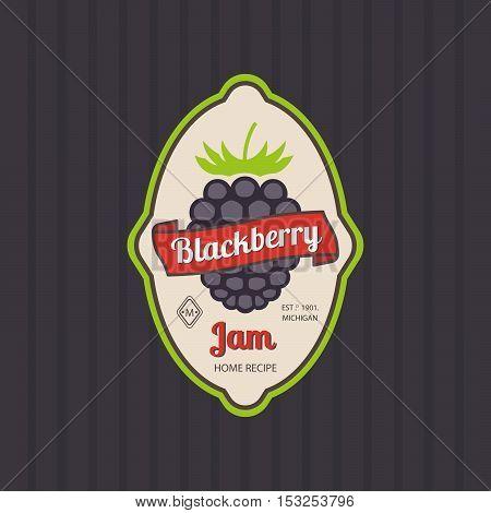 Blackberry jam retro fruit label and simple pattern backdrop. Vector illustration