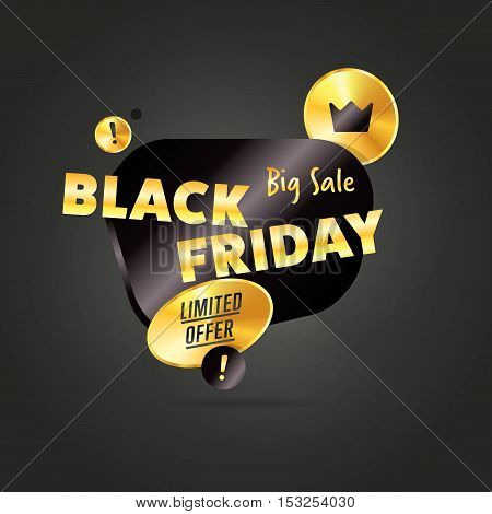 Black Friday sale black sticker vector isolated. Discount or special offer price sign on Black Friday. Sale vector banner. Promo offer. Sale sticker. Discount sticker. Special offer sale sticker in flat style. Discount tag. Special offer banner.