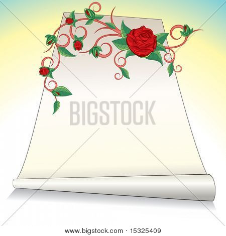 vector Romantic postcard with roses flower