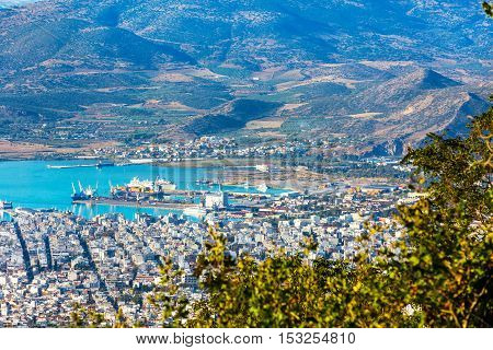 Volos city and gulf aerial view from Pelion mount, Greece