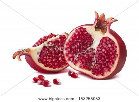 Pomegranate half quarter piece horizontal composition isolated on white background as package design element