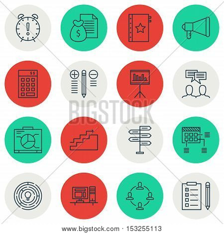 Set Of Project Management Icons On Innovation, Discussion And Growth Topics. Editable Vector Illustr