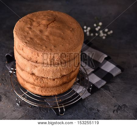 Homemade ideal sponge cake on table selective focus