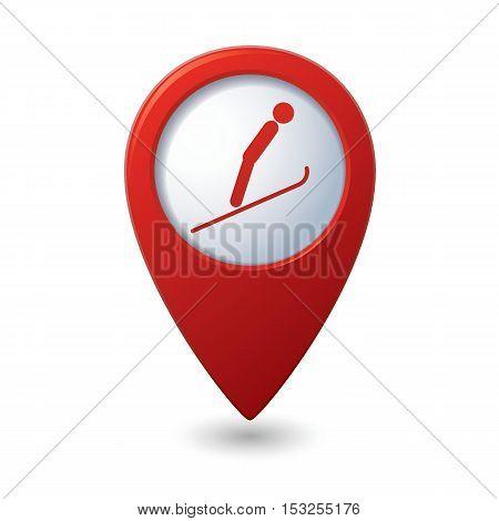 Map pointer with ski springboard icon. Vector illustration