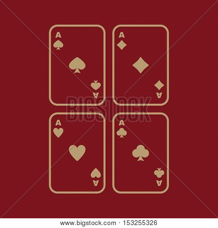 The Ace icon. Playing Card Suit symbol. Flat Vector illustration