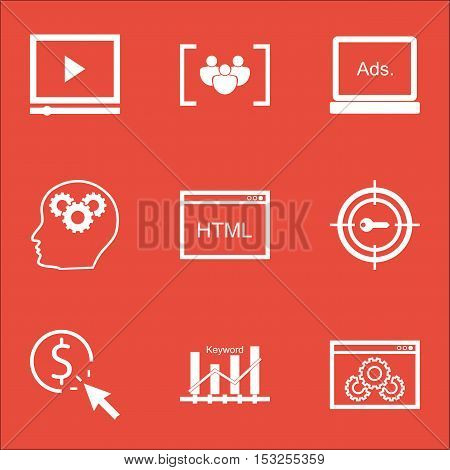 Set Of Seo Icons On Video Player, Questionnaire And Ppc Topics. Editable Vector Illustration. Includ