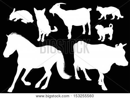 illustration with farm animals collection isolated on black background