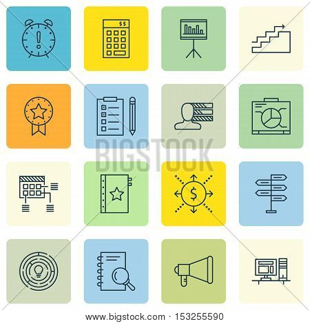 Set Of Project Management Icons On Reminder, Present Badge And Warranty Topics. Editable Vector Illu