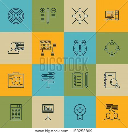 Set Of Project Management Icons On Discussion, Investment And Innovation Topics. Editable Vector Ill