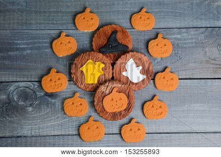 Halloween Gingerbread Fondant Cookies With Different Decoration