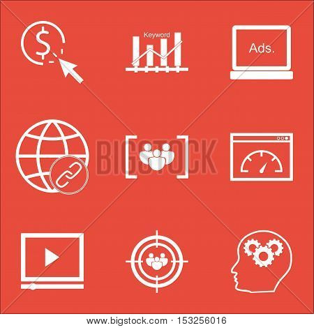Set Of Seo Icons On Focus Group, Ppc And Questionnaire Topics. Editable Vector Illustration. Include