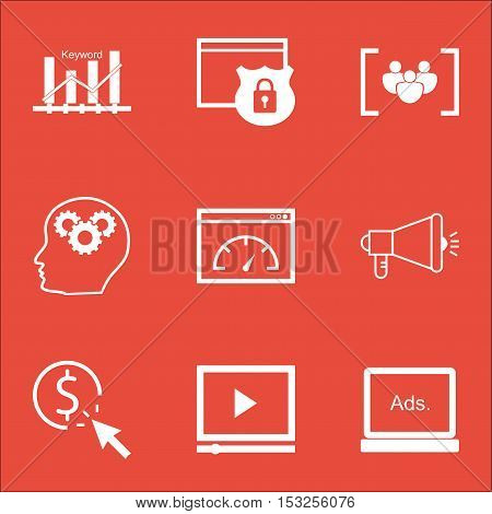 Set Of Advertising Icons On Brain Process, Security And Video Player Topics. Editable Vector Illustr