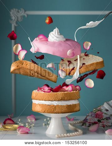 Bakery. Confectionary. Flying cake. Creamcheese, cream, jam, dessert, concept, abstraction.
