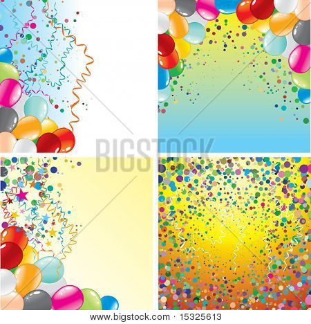 Beauty backgrounds with balloons and confetti (vector id=45554407)