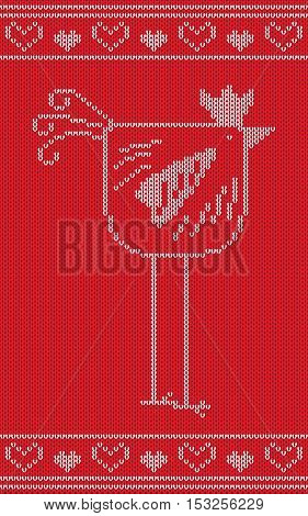 Knitting 2017 New Year symbol, red fire rooster. Vector illustration.