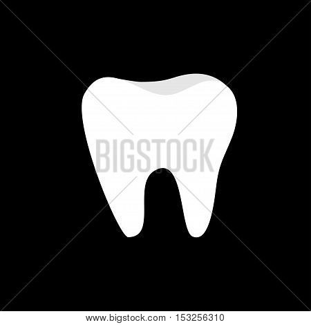 Tooth icon. Healthy tooth. Oral dental hygiene. Children teeth care. Tooth health. Black background. Flat design. Vector illustration