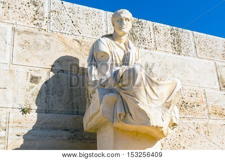 Statue of Menander at Acropolis, Athens, Greece
