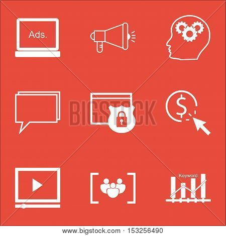 Set Of Marketing Icons On Ppc, Brain Process And Questionnaire Topics. Editable Vector Illustration.