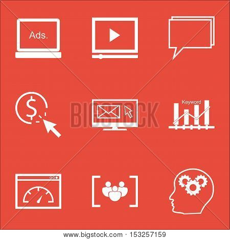 Set Of Advertising Icons On Conference, Ppc And Loading Speed Topics. Editable Vector Illustration.