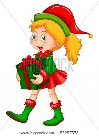 Girl holding present box illustration