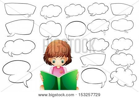 Girl reading and speech bubble templates illustration