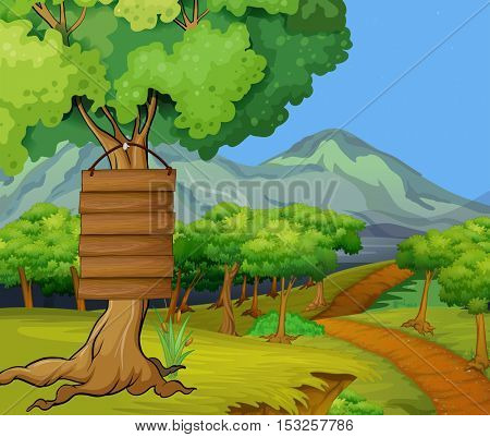 Scene with wooden signs in the jungle illustration