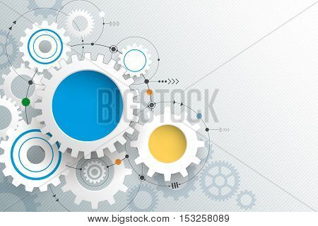 Vector illustration gear wheel. Abstract hi-tech technology and engineering background. Machine technology futuristic concept. Vector abstract technology on light gray color background