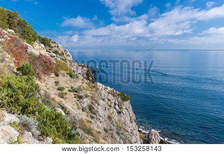 Autumnal landscape of the Black Sea shore in natural reserve on Cape Martyan Ukraine.