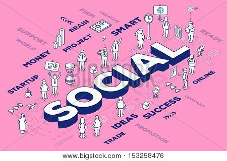 Vector Illustration Of Three Dimensional Word Social With People And Tags On Pink Background With Sc