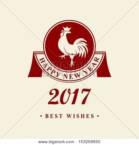 2017 Chinese New Year of the Rooster. Silhouette of red with crown. The zodiac symbol. Elements for design greeting card and invitation brochure flyer. Vector illustration