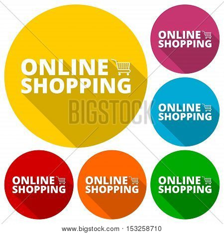 Online Shopping icons set with long shadow