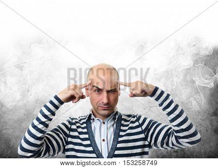 Man Began To Smoke During Hard Thinking