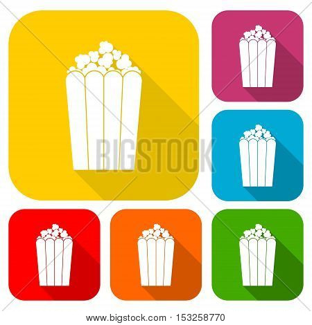 Popcorn package bag icons set with long shadow