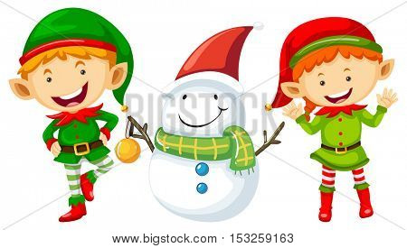 Two elves and snowman illustration