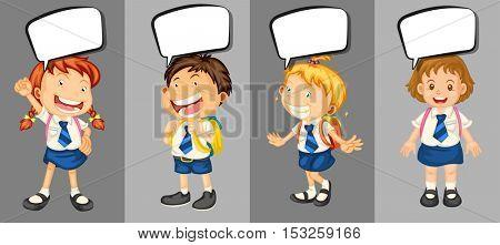 Children in school uniform with speech bubbles illustration