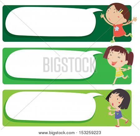 Label design with many girls illustration