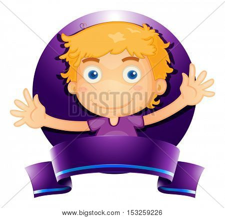 Label design with boy in purple illustration