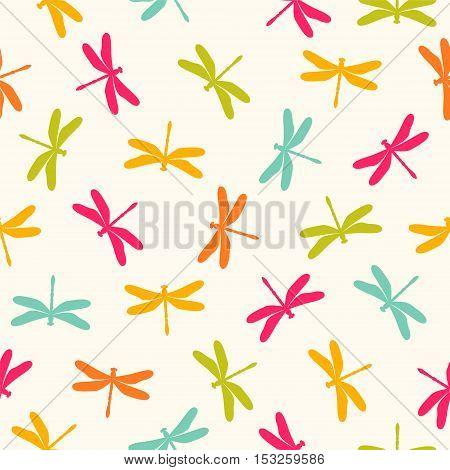 Seamless Pattern -  Pastel Dragonflies