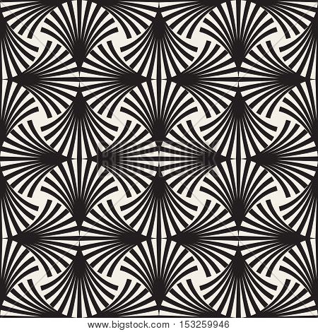 Vector Seamless Black Arc Lines Grid Pattern. Abstract Geometric Background Design
