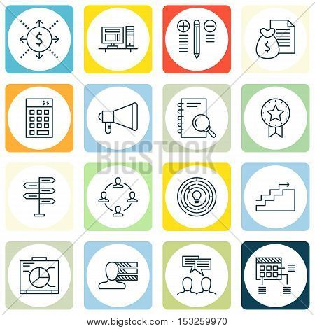 Set Of Project Management Icons On Decision Making, Innovation And Announcement Topics. Editable Vec