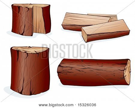 Wooden Logs Isolated vector objects