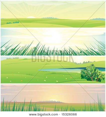 Four different beautiful nature banners